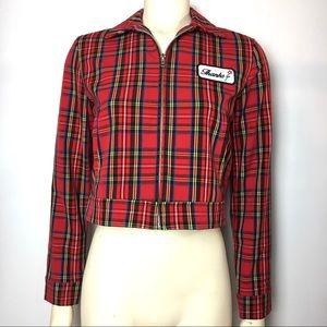 Red Plaid Crop Jacket Garage Grunge Thanks Patch